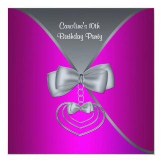 Hot Pink Girls 10th Birthday Party 5.25x5.25 Square Paper Invitation Card