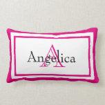Hot Pink Girls Monogram Name Keepsake Pillow