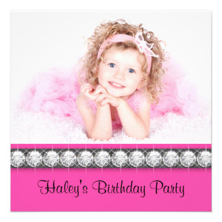 Hot Pink Girls Photo Birthday Party Invitations