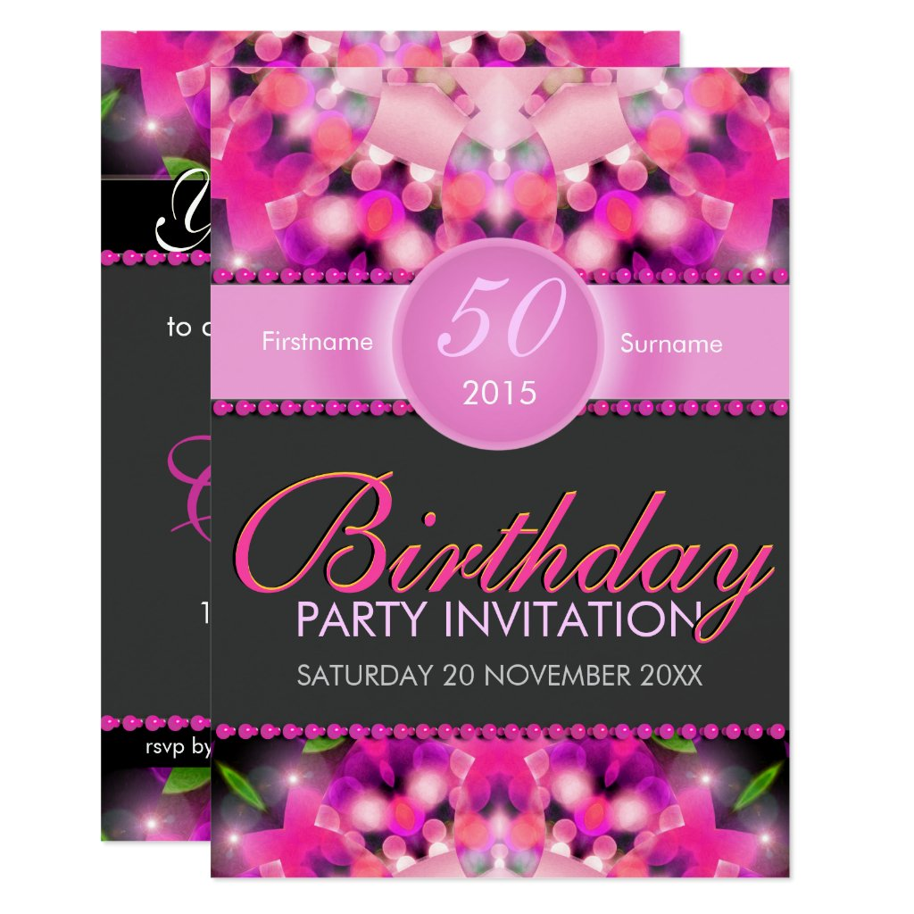 Hot Pink Girly 50th Birthday Invitations
