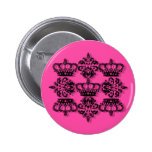 Hot pink girly crown damask pin