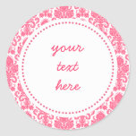 Hot Pink Girly Damask Label Stickers
