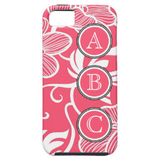 Hot Pink Girly Flowers with Dot Initials iPhone 5 Cover