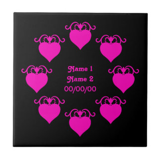 Hot pink girly love hearts on black wedding ceramic tile