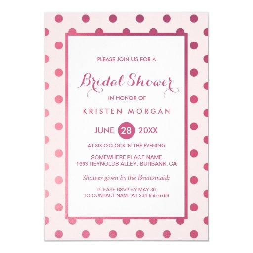 Hot Pink Girly Polka Dots Modern Bridal Shower Card