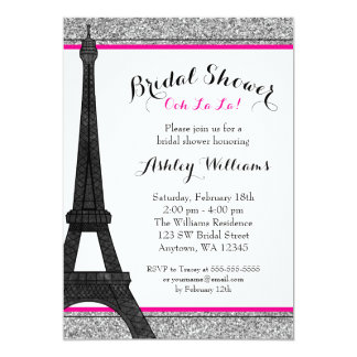 Hot Pink Glam Paris Bridal Shower 5x7 Paper Invitation Card