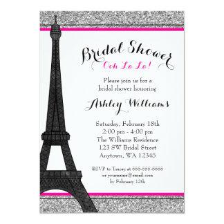 Hot Pink Glam Paris Bridal Shower Card