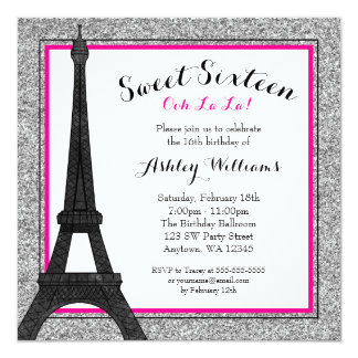 Hot Pink Glam Paris Themed Faux Glitter Sweet 16 5.25x5.25 Square Paper Invitation Card