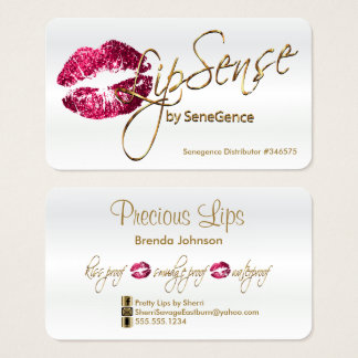 Hot Pink Glitter and Gold - Satin White Business Card