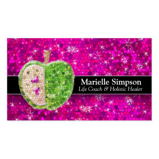 Hot Pink Glitter Apple Holistic Healer Nutrition Double-Sided Standard Business Cards (Pack Of 100)