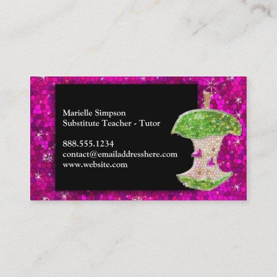 Hot pink glitter apple substitute teacher tutor business card hot pink glitter apple substitute teacher tutor business card colourmoves