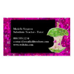 Hot Pink Glitter Apple Substitute Teacher Tutor Double-Sided Standard Business Cards (Pack Of 100)