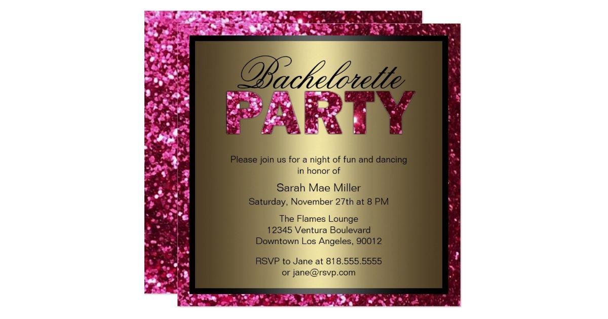 Hot Pink Glitter Bachelorette Party Invitation Zazzle