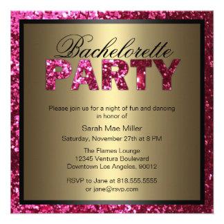 Hot Pink Glitter Bachelorette Party Invitation