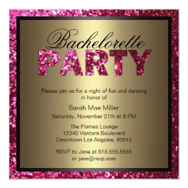 party_depot Hot Pink Glitter Bachelorette Party Invitation