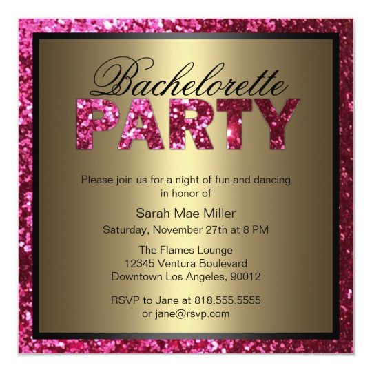hot pink glitter bachelorette party invitation | zazzle, Party invitations