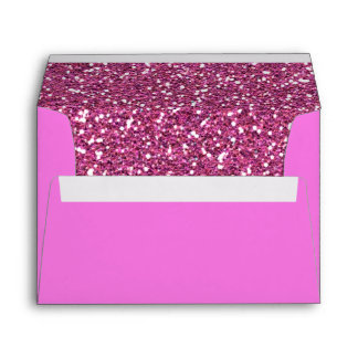 Hot Pink Glitter Background Texture Print Envelope