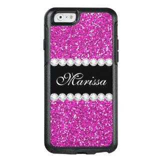 Hot Pink Glitter Black Otterbox iPhone 6/6s Case