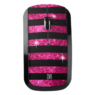Hot Pink Glitter & Black Stripes | DIY Monogram Wireless Mouse