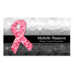Hot Pink Glitter Breast Cancer Survivor Coach Business Card