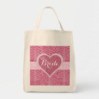 Hot Pink Glitter Bride Tote Bag