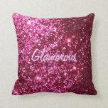 Hot Pink Glitter Glamorous Pillow