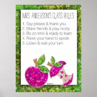 Hot Pink Glitter Green Teachers Apple Class Rules Poster