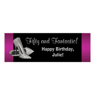 Hot Pink Glitter High Heels Birthday Party Banner Poster