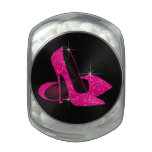 Hot Pink Glitter High Heels Birthday Party Candy Glass Candy Jar