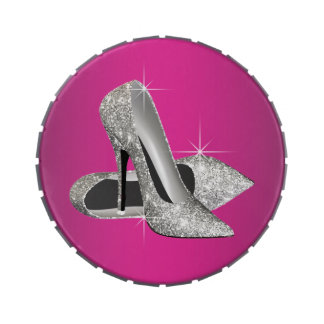 Hot Pink Glitter High Heels Birthday Party Candy Jelly Belly Candy Tins