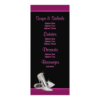 Hot Pink Glitter High Heels Menu Cards