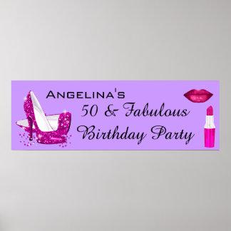 Hot Pink Glitter High Heels Purple Birthday Banner Poster