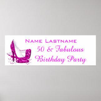 Hot Pink Glitter High Heels White Birthday Banner Poster
