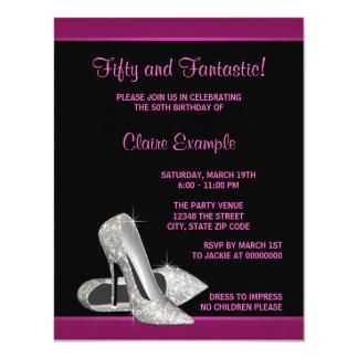 Hot Pink Glitter High Heels Womans 50th Birthday Invitations