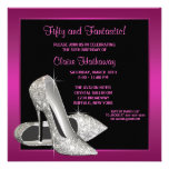 Hot Pink Glitter High Heels Womans 50th Birthday Personalized Announcement