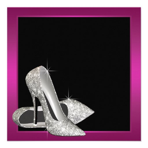 Hot Pink Glitter High Heels Womans 50th Birthday Personalized Announcement (back side)