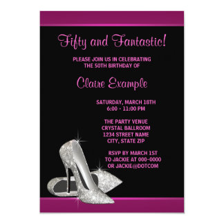 Hot Pink Glitter High Heels Womans 50th Brithday Personalized Invites
