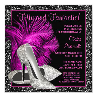 Hot Pink Glitter High Heels Womans Birthday 5.25x5.25 Square Paper Invitation Card
