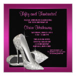 Hot Pink Glitter High Heels Womans Birthday Party Card