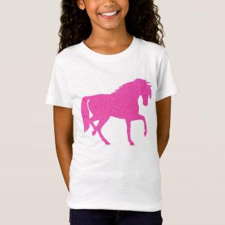 Hot Pink Glitter Horse Girls T-shirt