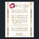 """Hot Pink Glitter Lip How to Apply Flyer<br><div class=""""desc"""">Hot Pink Glitter Lips and Elegant Gold Designer Application Instructions Flyer. Look for different size cards and more colors. NOTE: PLEASE CHECK ALL WORDING AND SPELLING BEFORE ORDERING!! (For matching products and designs type in Keyword: GLITTER LIPS ) (Note: Not real Glitter, This is a PRINT) 100% Customizable. Ready to...</div>"""