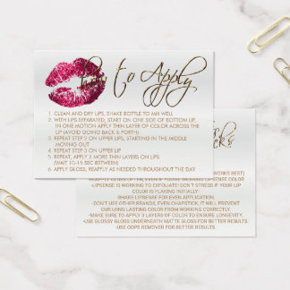Hot Pink Glitter Lips 2 - How to Apply - Satin Business Card