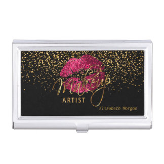 Hot Pink Glitter Lips and Gold Confetti Case For Business Cards