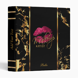 Hot Pink Glitter Lips and Gold Marble 3 Ring Binder