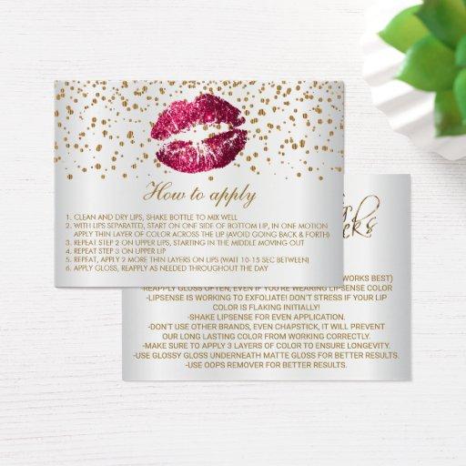 Hot Pink Glitter Lips Application Instructions Business Card