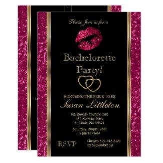 Hot Pink Glitter Lips Bachelorette Party Invitation
