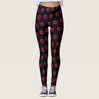 Hot Pink Glitter Lipstick Pattern Leggings