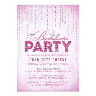 Hot Pink Glitter Look Bachelorette Party Card