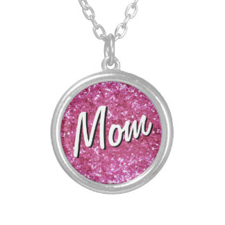 Hot Pink Glitter-Look Mom Necklace