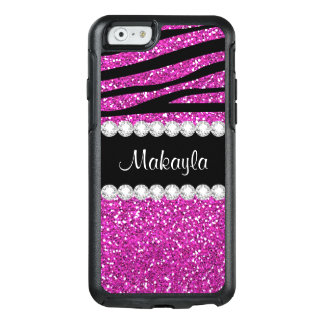 Hot Pink Glitter Print Black Zebra Otter iPhone 6